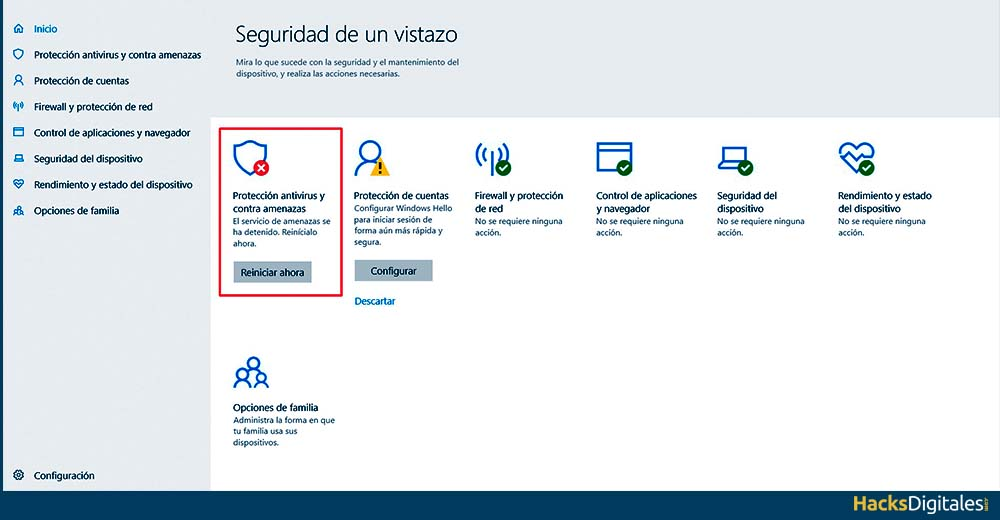 Desactivar Actualizaciones Windows Defender en Windows 10