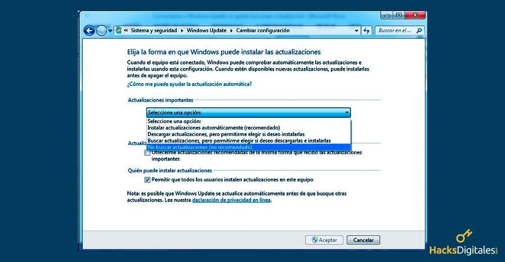 Desactivar Actualizaciones de Windows Update