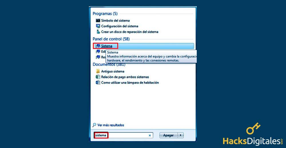 Entrar a Sistema desde el menú inicio de Windows