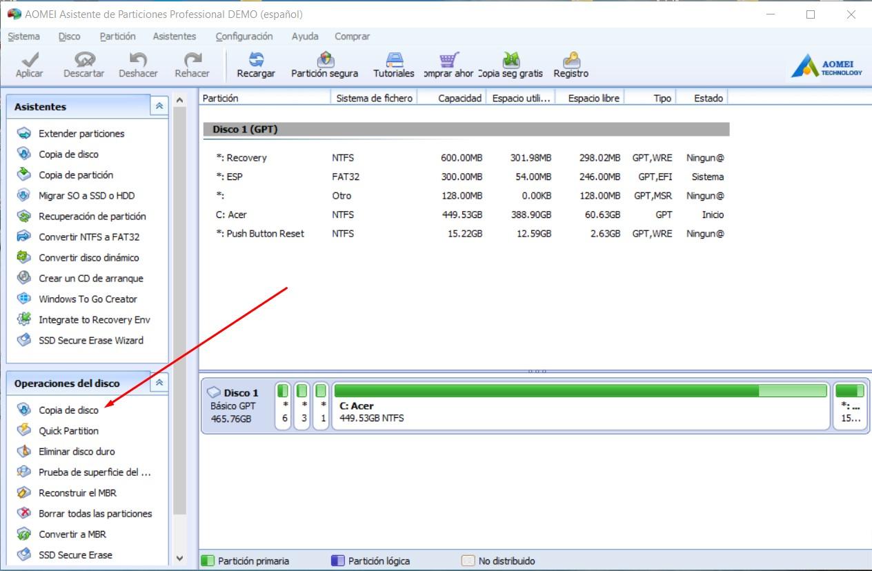clonación de disco duro con partition assistant