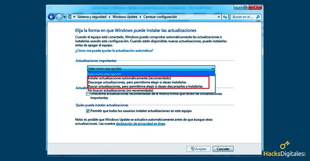 Solucionar el problema de Windows Update