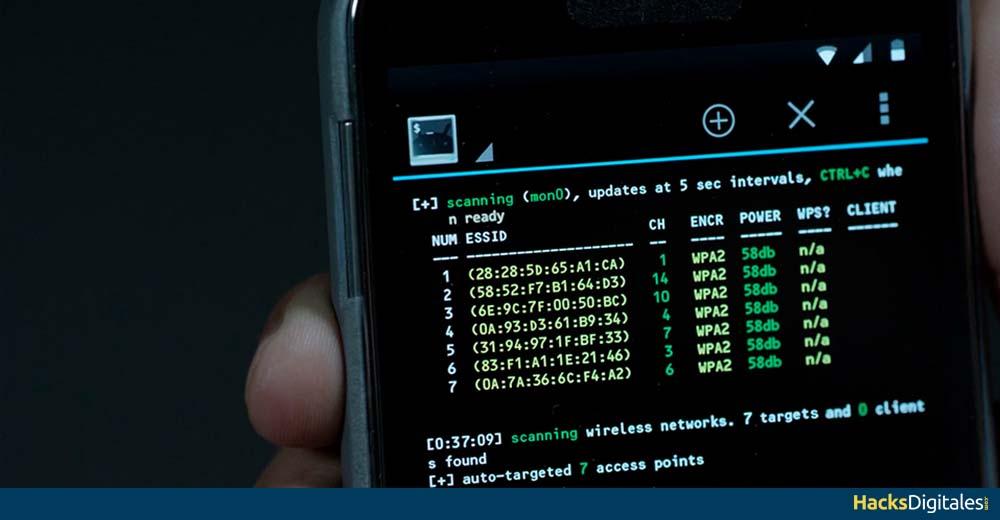 Ejecutando Aircrack con Kali Linux para Android desde un celular