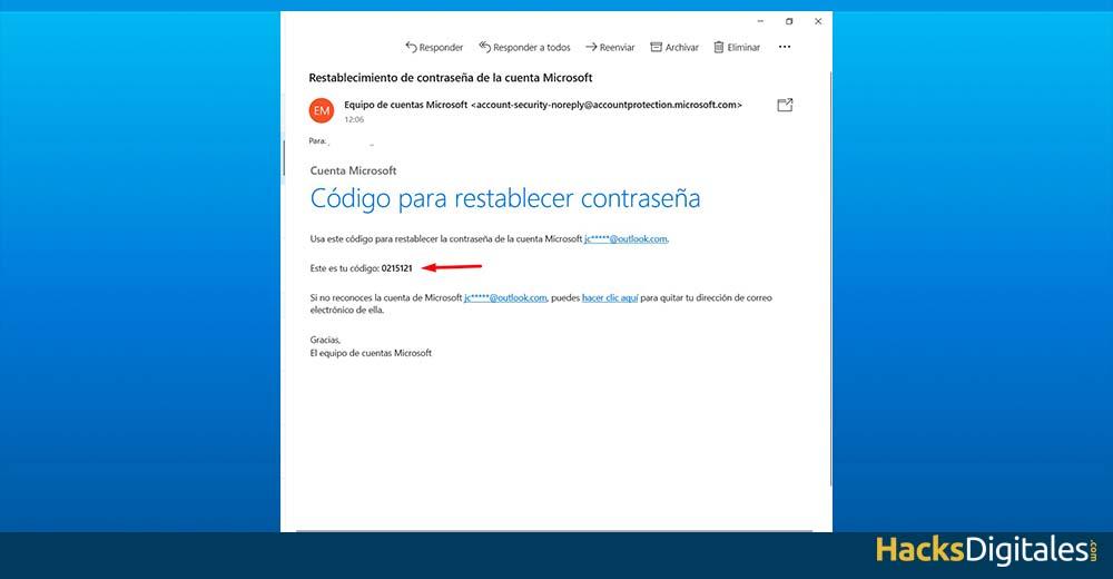 Email de Microsoft con el código de restablecimiento de contraseña de Skype