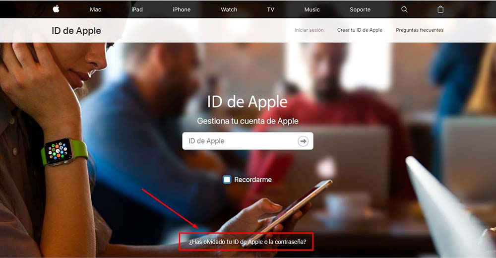 Hacer click en he olvidado ID Apple o contraseña