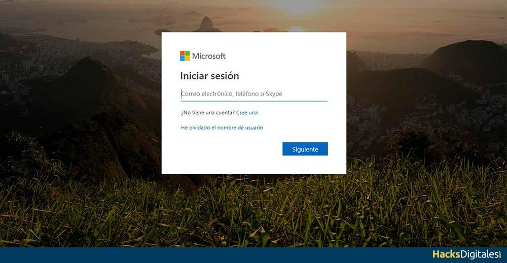Iniciar sesión con tu correo Hotmail u Outlook