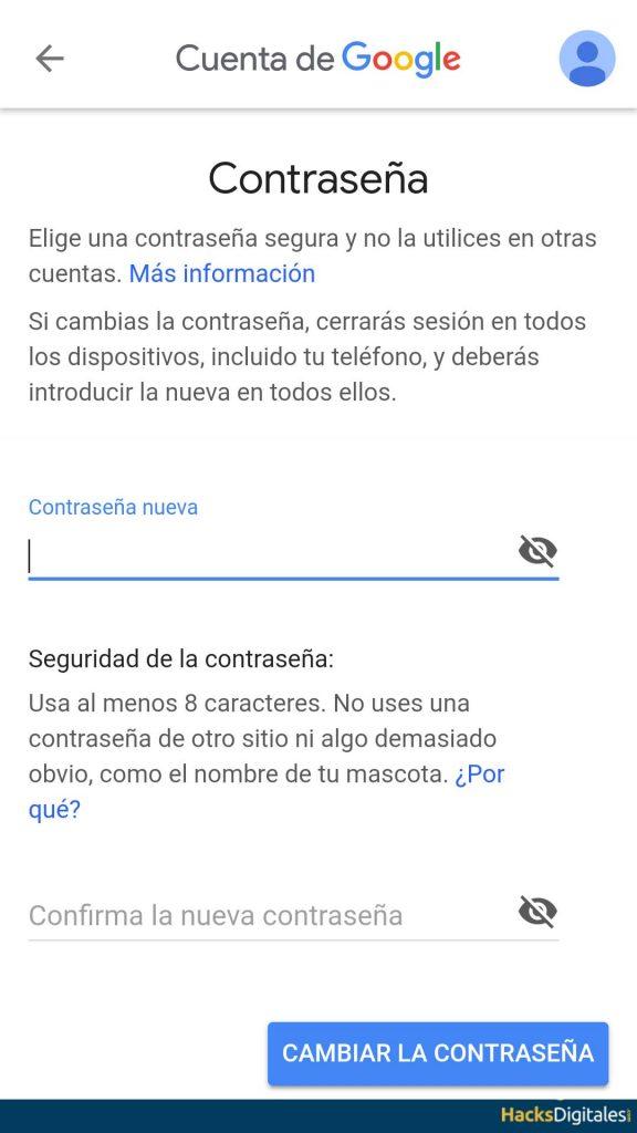 Poner Contraseña nueva Android