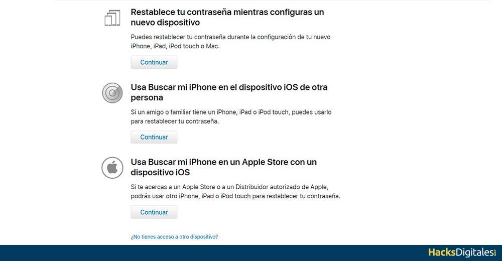 Reestablecer Contraseña iTunes