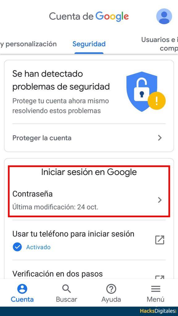Ver contraseña Android