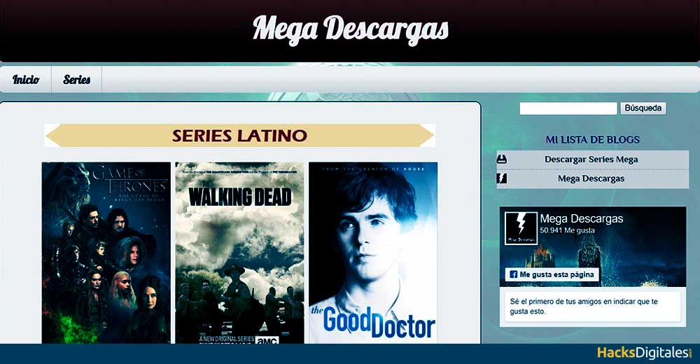 Megadescargas, alternativa a MejorTorrent