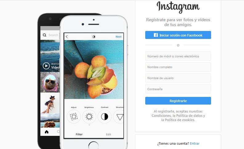Instagram iniciar sesión desde escritorio