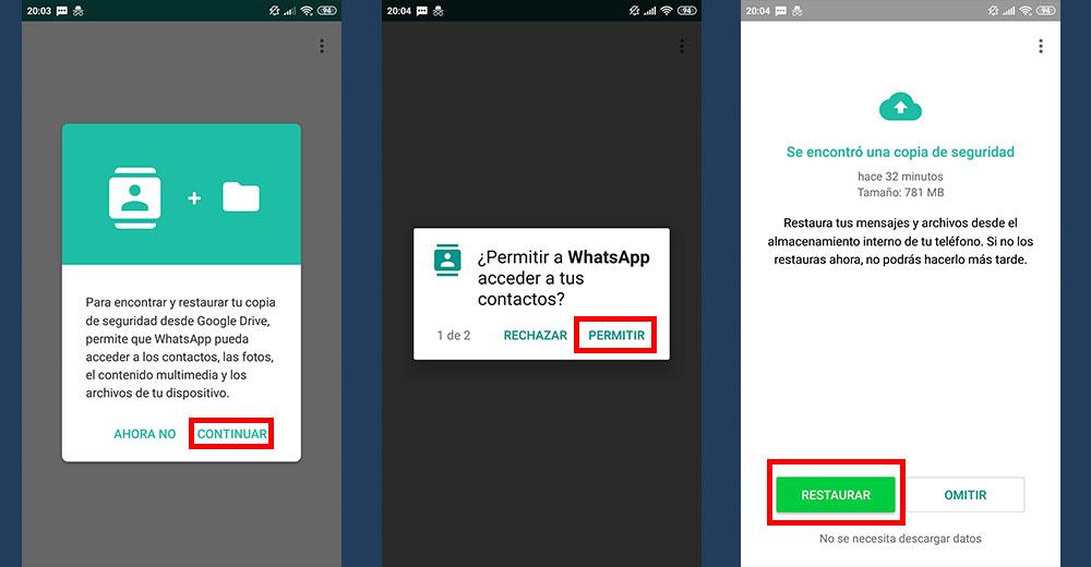 permitir acceso contactos y restaurar mensajes